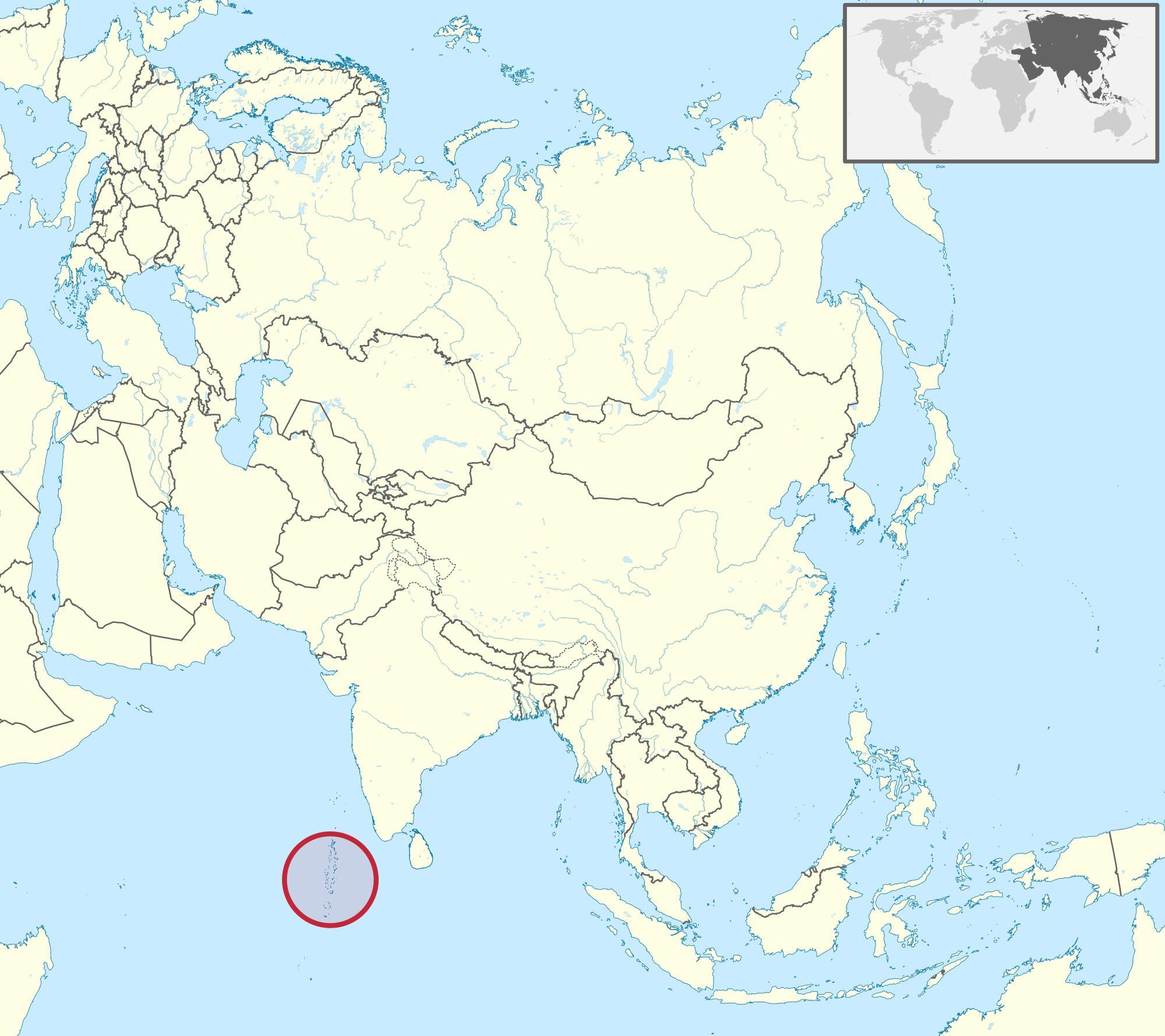Maldiverne Kort Asien Kort Maldiverne Kort Asien I Det Sydlige