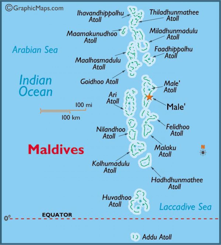Atoll Maldiverne Kort Baa Atoll Maldiverne Kort Det Sydlige