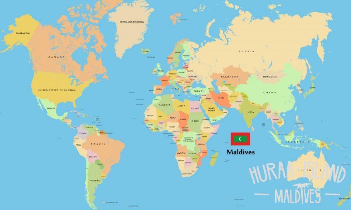 Maldiverne Placering I Verden Kort Kort Over Maldiverne I Verden