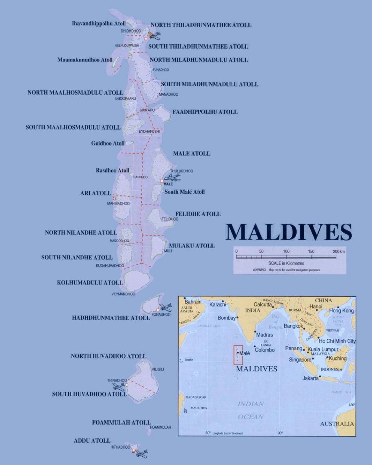 Maldiverne Politiske Kort Kort Over Maldiverne Politiske Det