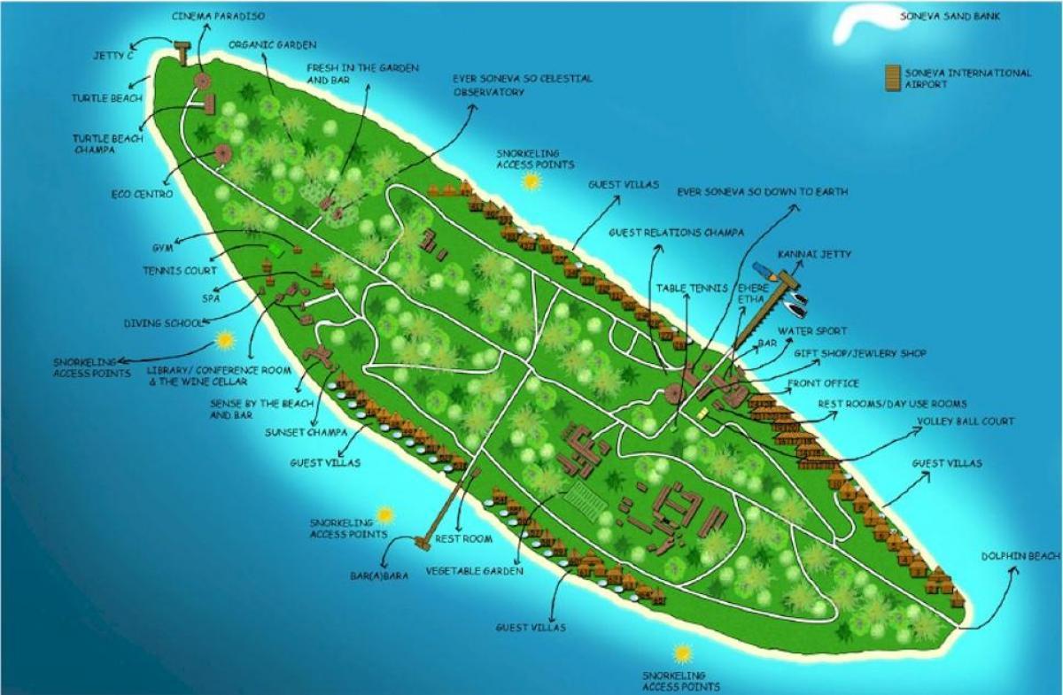 Vaadhoo Maldiverne Kort Vaadhoo Oen Maldiverne Kort Det Sydlige