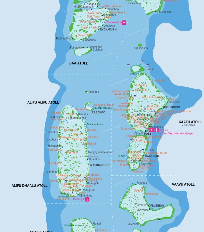 W Maldiverne Kort Kort Over W Maldiverne Sydlige Asien Asien